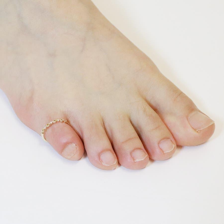 レディース トゥリング 足 指輪 フリーサイズ キュービックジルコニア ニッケルフリー 低アレルギー シンプル 可愛い 夏 サマービーチ 海 日本製 プレゼント 7