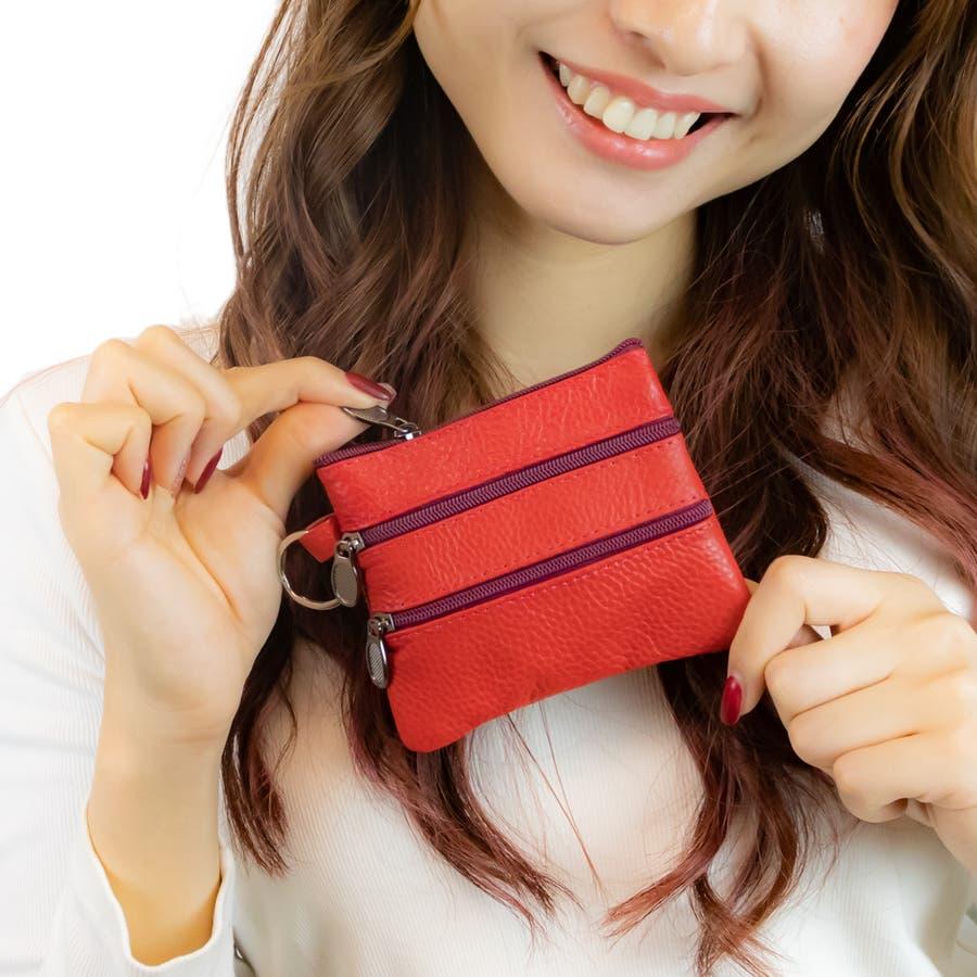 多機能小銭入れ コインケース 小物入れ ミニ財布 化粧ポーチ レディース メンズ 4箇所のファスナーポケット 四角 選べる10種類合皮 柔らかい手触り ストラップ着用可能 リング付き 見付けやすい 邪魔にならない 9