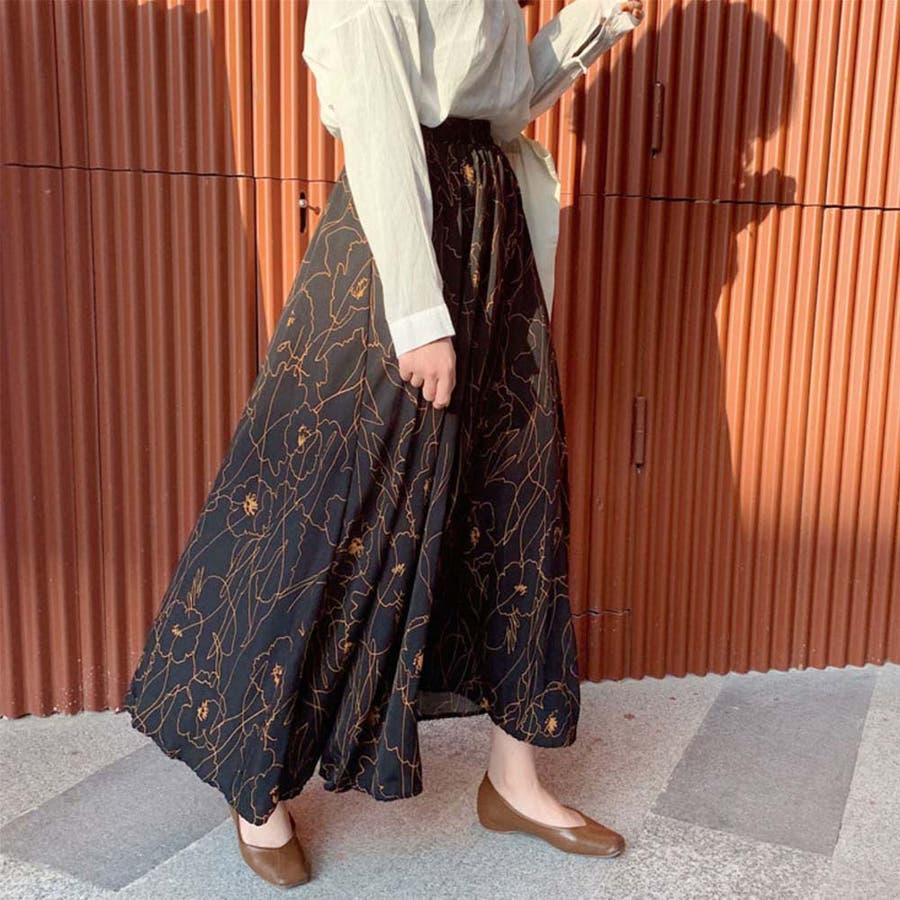 スカート レディース 春夏 マキシ丈 ロングスカート ウエストゴム ポリエステル 花柄 4