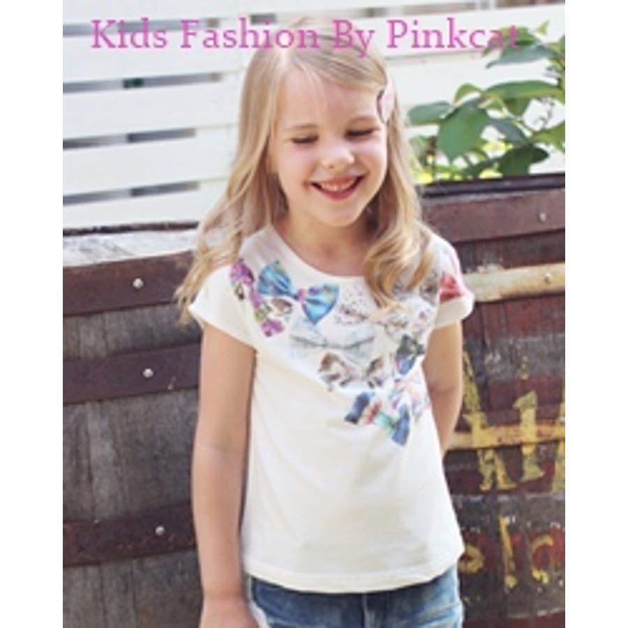 形が良くてgood 子供服 半袖tシャツCA14 Rora レイーリボンT ポップなリボンプリントがHappyな白半袖tシャツ♪ 売薬