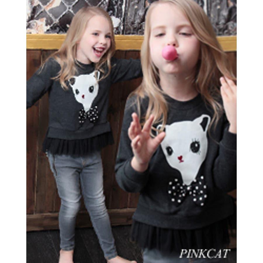 いいいい!! 子供服 女の子 トレーナー スウェットCA17 Rora ハンナ 猫 T シックなカジュアルコーデにぴったりキッズスウェットt 駁論