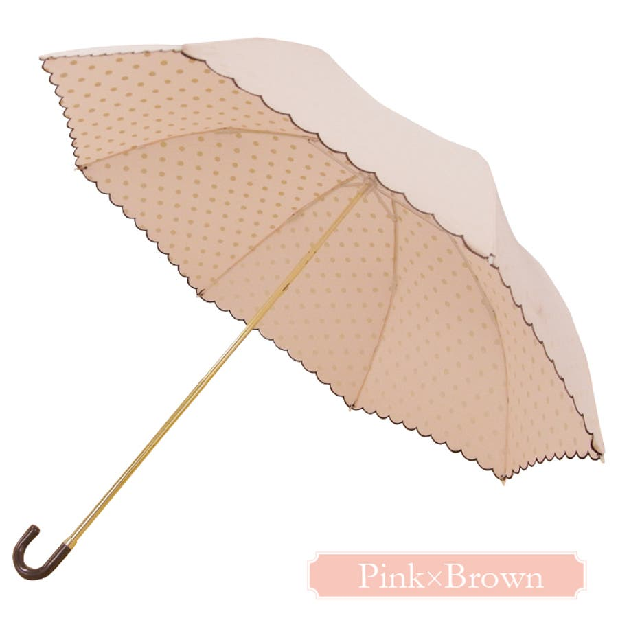 インドット折傘ピンクトリック 可愛い 傘 かさ 雨傘 日傘 晴雨兼用 折たたみ傘 レディース 黒 ブラック 紺 ネイビー ピンク水玉ドット リボン 親骨50cm(センチ) おしゃれ UVカット グラスファイバー 軽量 コンパクト 収納 梅雨 大人 20代30代40代 2