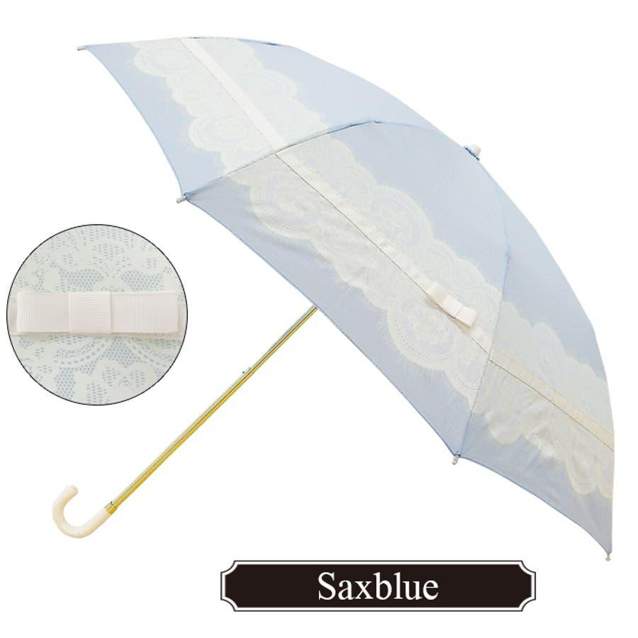 レース&リボン折傘ピンクトリック 可愛い 傘 かさ 雨傘 日傘 晴雨兼用 折たたみ傘 レディース 大人 20代 30代 40代 黒ネイビー ベージュ ピンク 親骨50cm(センチ) 軽量 軽い コンパクト 収納 雨 おしゃれ UVカット グラスファイバー 4