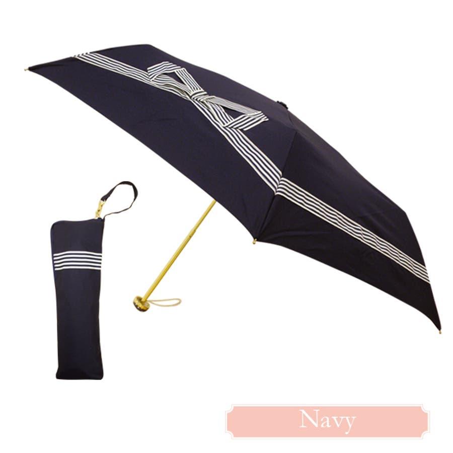 テープリボン折傘ピンクトリック リボン 可愛い 傘 かさ 雨傘 日傘 晴雨兼用 折たたみ傘 レディース 紺 ネイビー 黒 ブラックおしゃれ UVカット グラスファイバー 軽量 コンパクト 収納 梅雨 大人 親骨50cm(センチ) 20代 30代 40代 8