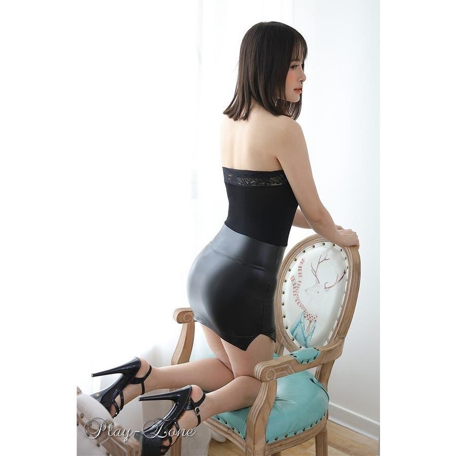 ボディコン ワンピース ミニ ドレス OL 女教師 秘書 レースクイーン 仮装 コスプレ セクシードレス ボディライン2頭ファスナー一体式 フェイクレザー 黒 白 赤 全3色 A326 5