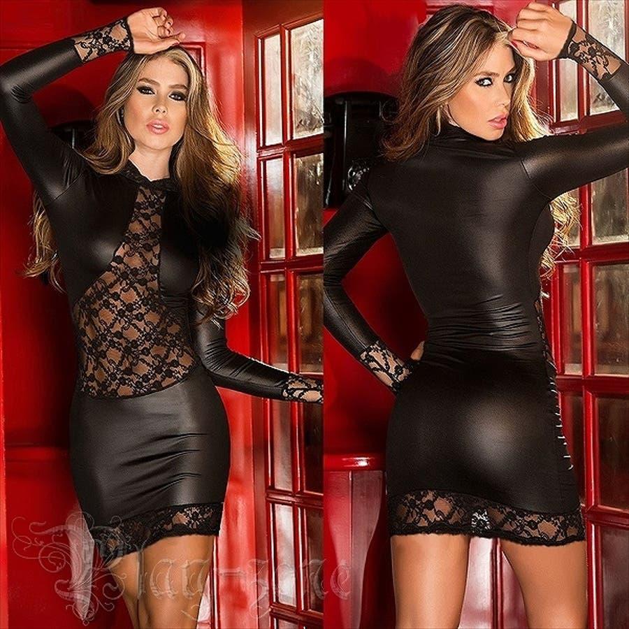 ボディコン ドレス 仮装 コスプレ セクシー コスチューム PU レザー ミニワンピース ロングスリーブ シャイニー ドレス A381 2