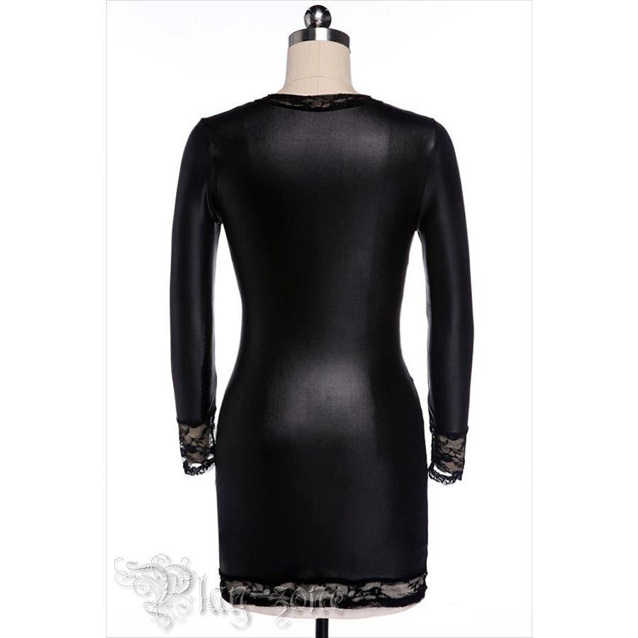 ボディコン ドレス 仮装 コスプレ セクシー コスチューム PU レザー ミニワンピース ロングスリーブ シャイニー ドレス A381 6