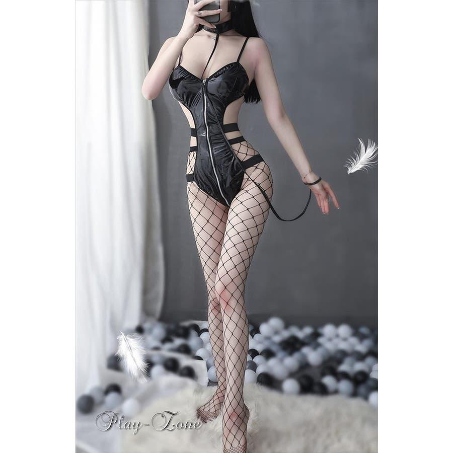 エナメル レオタード セクシー コスチューム ボンテージ コスプレ 女王様 仮装 囚人 光沢艶々 ブラック D225 New 10