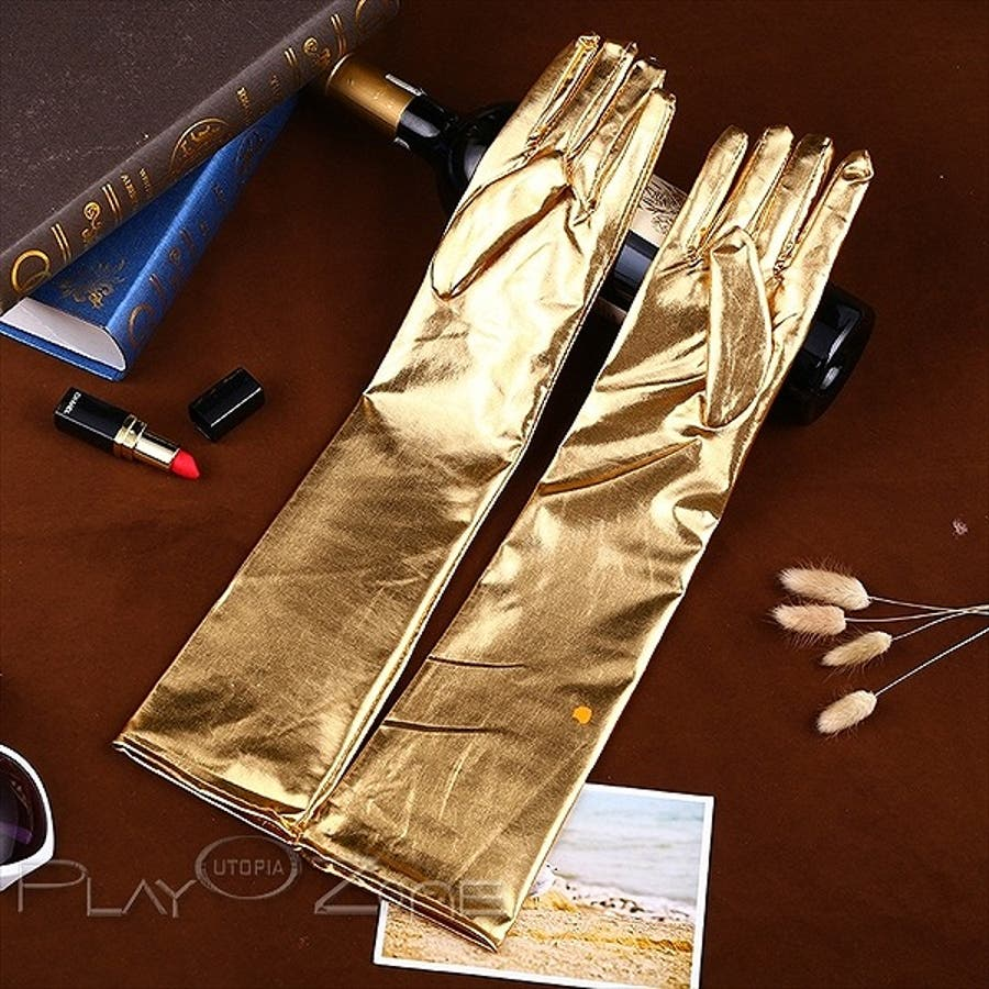 フェイクレザー セミ 仮装 コスプレ ロンググローブ セクシー コスチューム コスプレ 光沢 グローブ 小物 全4色 D260 4