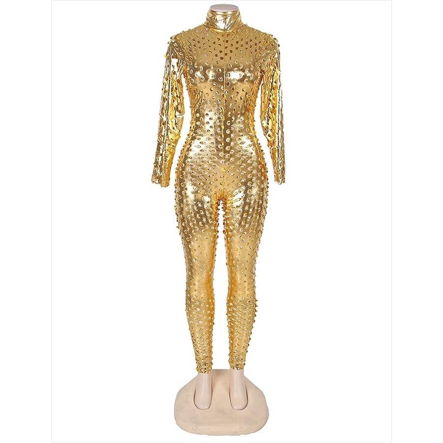 キャットスーツ 仮装 コスプレ セクシー コスチューム ボンテージ スーツ ジャンプスーツ ゴールド パンチング ボディスーツレディース C126K 8