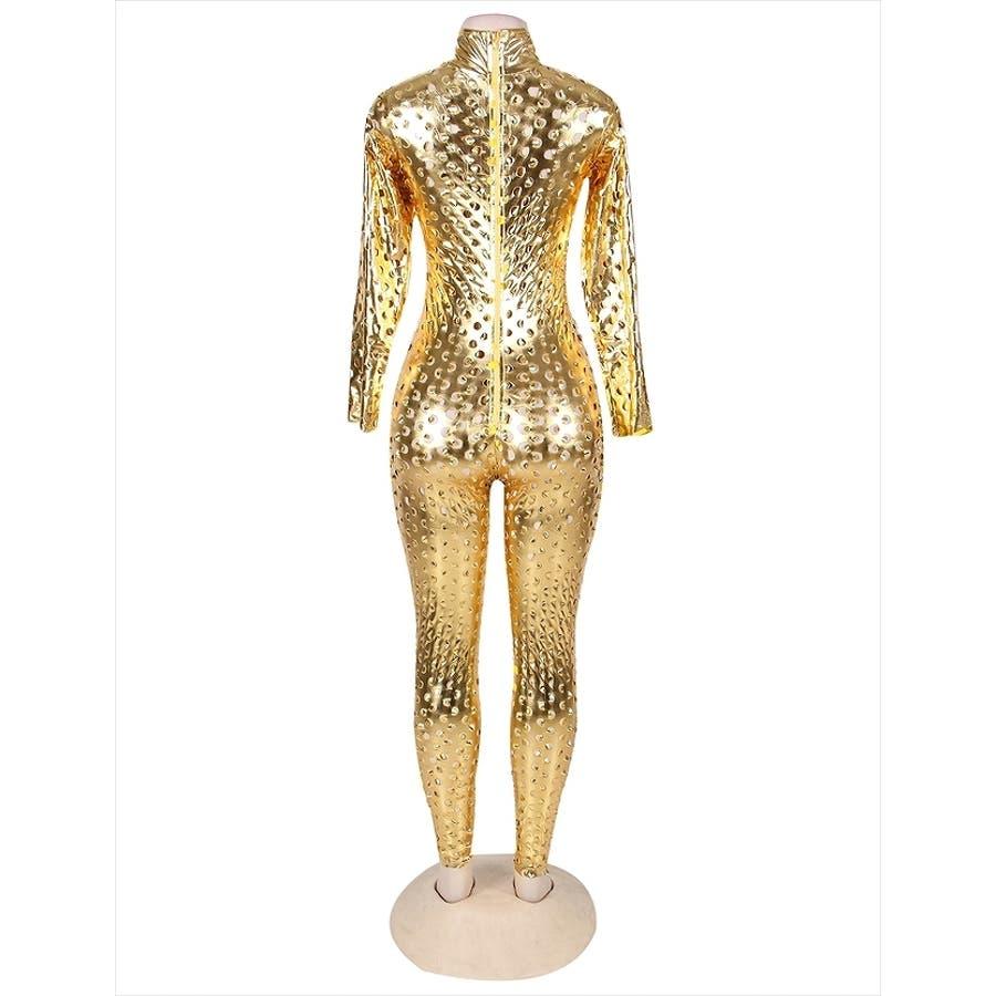 キャットスーツ 仮装 コスプレ セクシー コスチューム ボンテージ スーツ ジャンプスーツ ゴールド パンチング ボディスーツレディース C126K 9