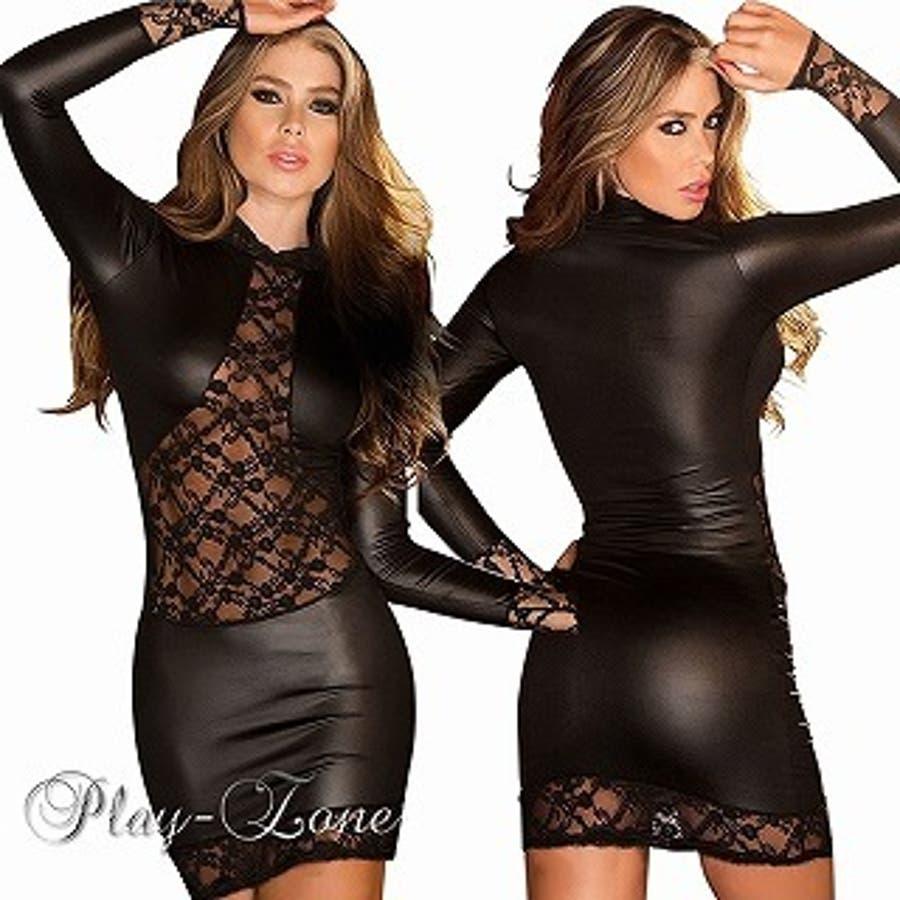 ボディコン ドレス 仮装 コスプレ セクシー コスチューム PU レザー ミニワンピース ロングスリーブ シャイニー ドレス A381 1