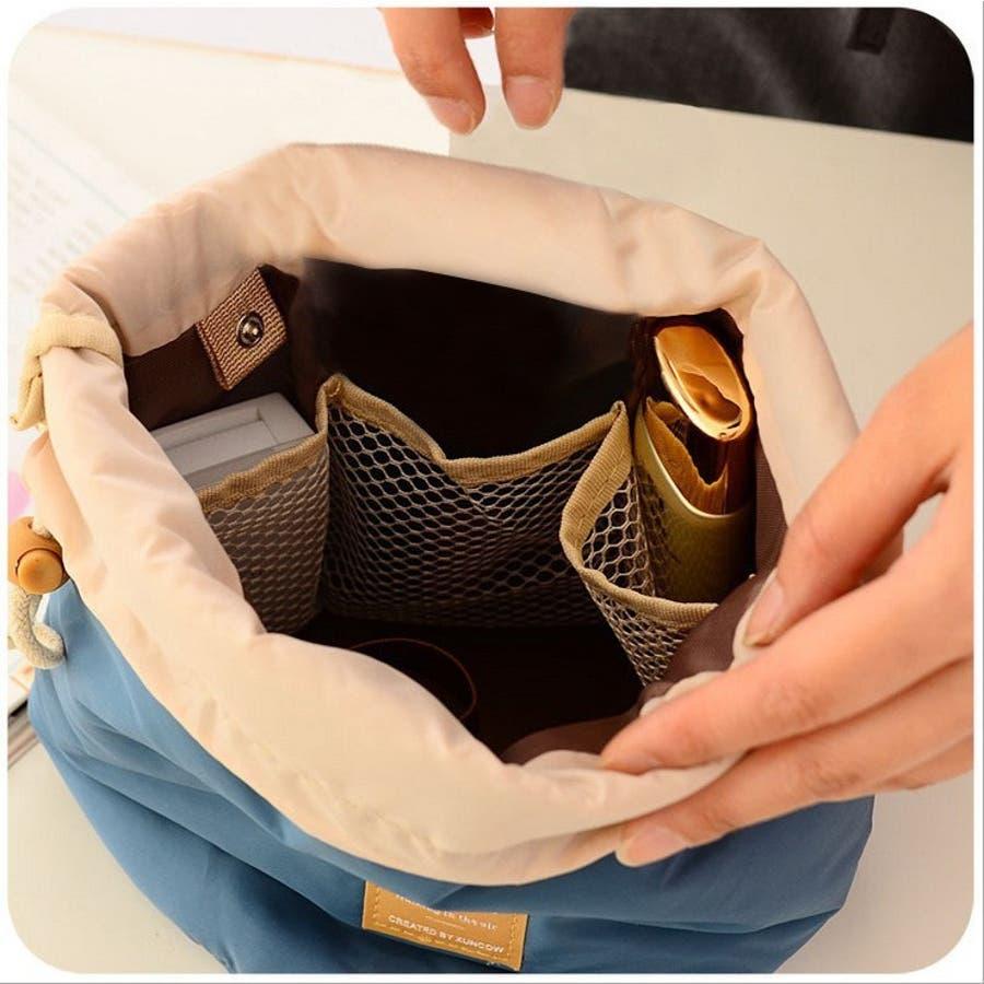化粧ポーチ コスメポーチ トラベルポーチ 化粧バッグ コスメバッグ たっぷり収納 大容量 巾着 仕切り付き レディース 小物入れ 2