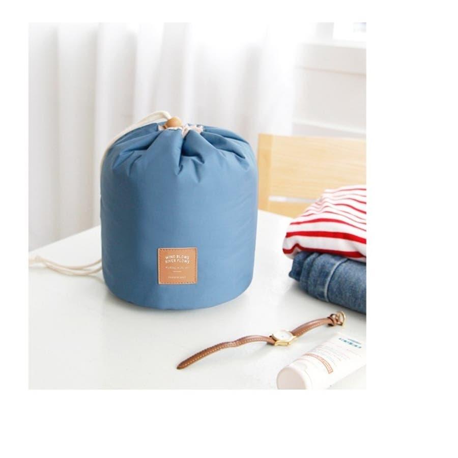 化粧ポーチ コスメポーチ トラベルポーチ 化粧バッグ コスメバッグ たっぷり収納 大容量 巾着 仕切り付き レディース 小物入れ 7