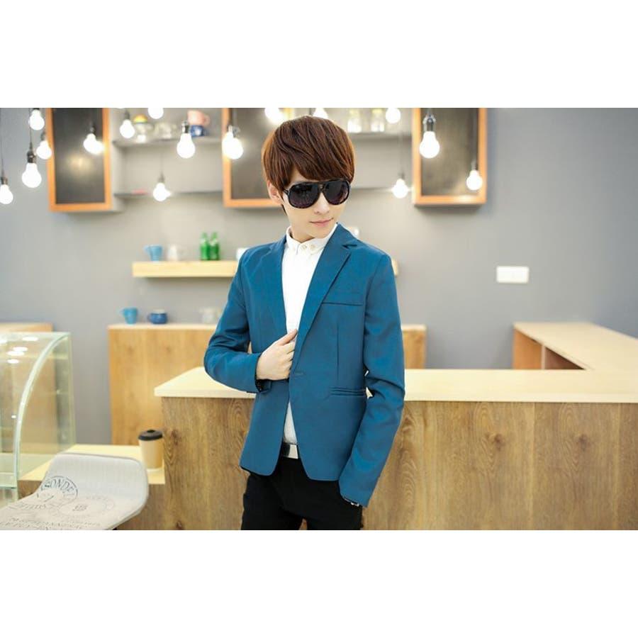 ジャケット メンズ カジュアル 長袖 1ボタン スーツ ファッション カラー豊富 おしゃれコーデ 男性 アウター 2