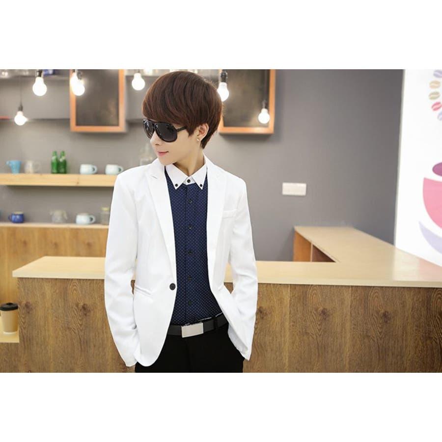 ジャケット メンズ カジュアル 長袖 1ボタン スーツ ファッション カラー豊富 おしゃれコーデ 男性 アウター 3