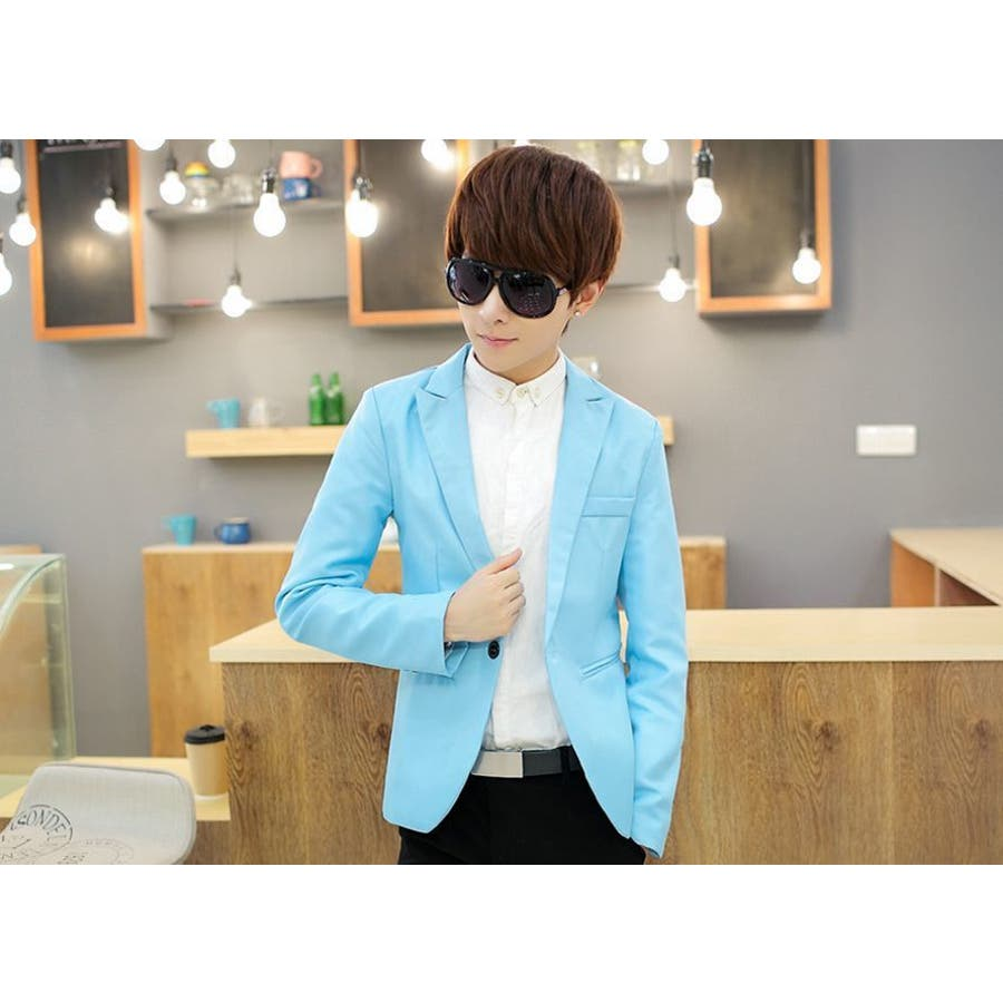 ジャケット メンズ カジュアル 長袖 1ボタン スーツ ファッション カラー豊富 おしゃれコーデ 男性 アウター 4
