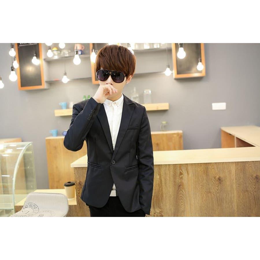 ジャケット メンズ カジュアル 長袖 1ボタン スーツ ファッション カラー豊富 おしゃれコーデ 男性 アウター 5