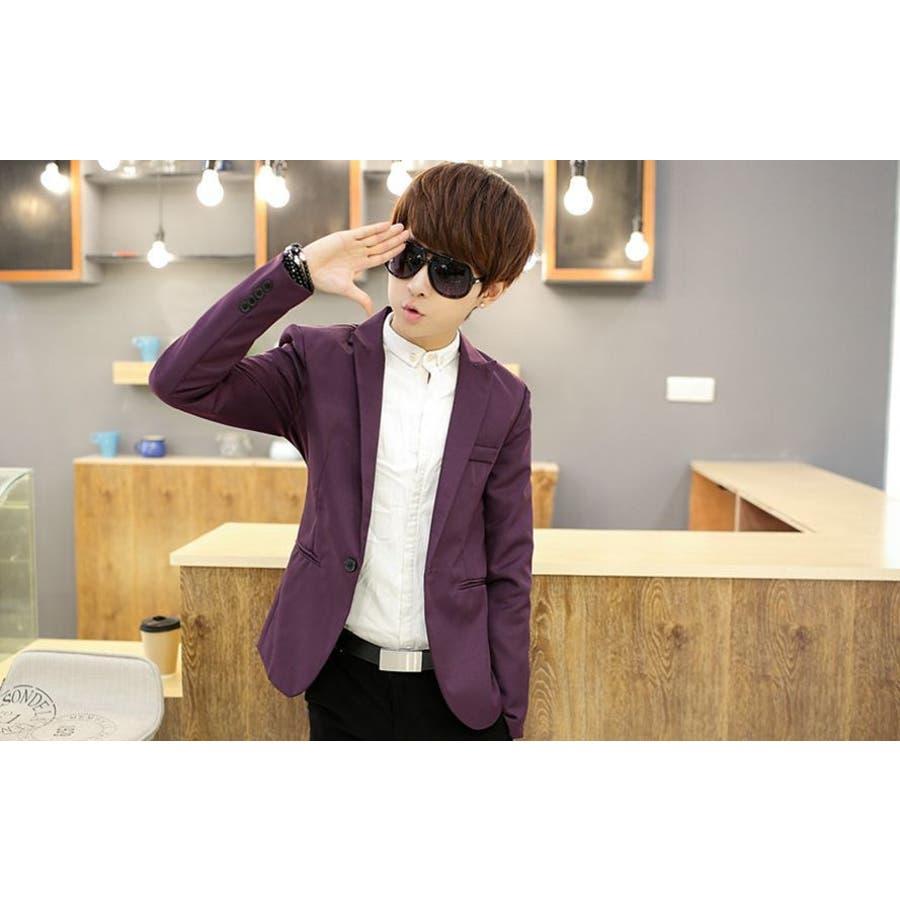 ジャケット メンズ カジュアル 長袖 1ボタン スーツ ファッション カラー豊富 おしゃれコーデ 男性 アウター 6