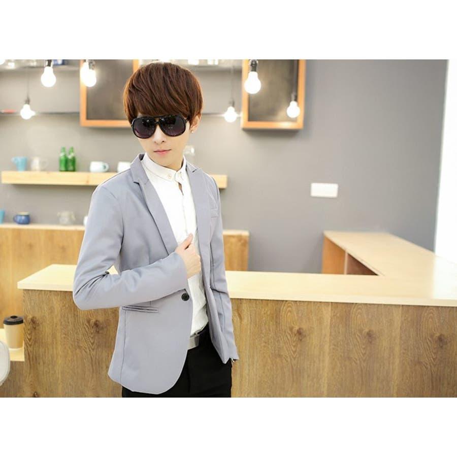 ジャケット メンズ カジュアル 長袖 1ボタン スーツ ファッション カラー豊富 おしゃれコーデ 男性 アウター 7