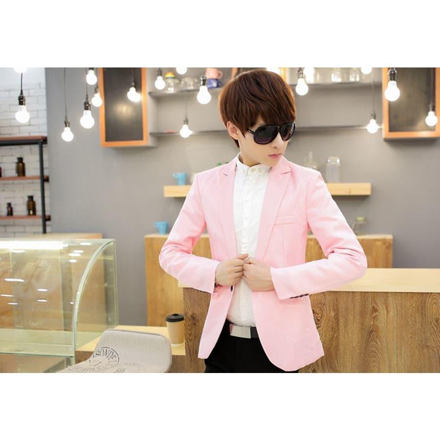 ジャケット メンズ カジュアル 長袖 1ボタン スーツ ファッション カラー豊富 おしゃれコーデ 男性 アウター 8