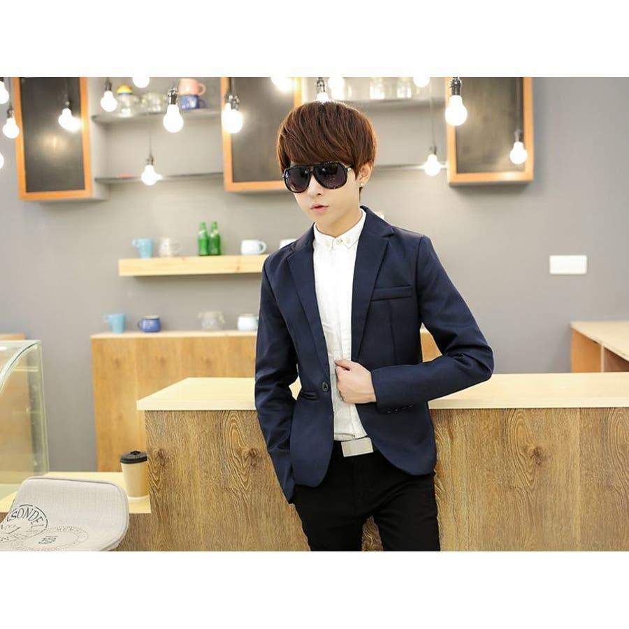 ジャケット メンズ カジュアル 長袖 1ボタン スーツ ファッション カラー豊富 おしゃれコーデ 男性 アウター 9