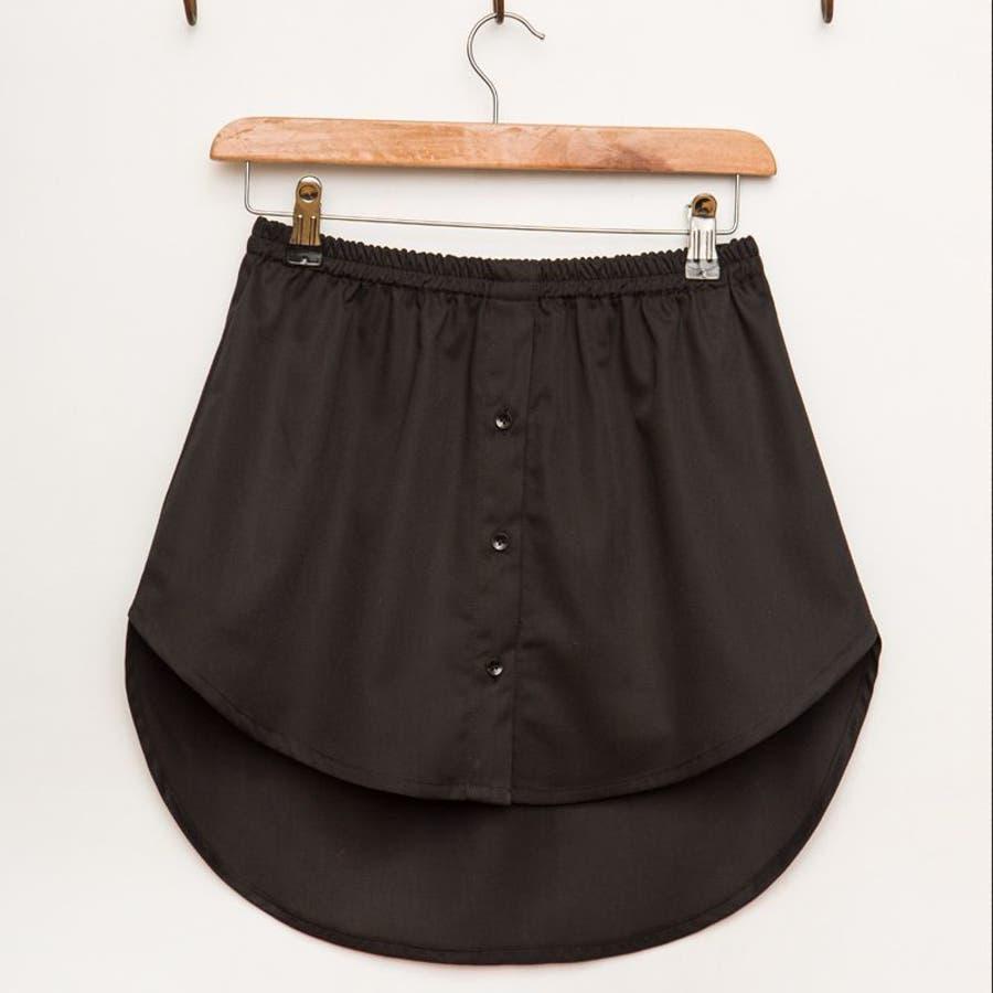 フェイクレイヤードシャツ ボトムス スカート ミニスカート ヘム レディース Aライン シンプル 無地 ホワイト ブラックコーデ着回し 重ね着風 レイヤード 2
