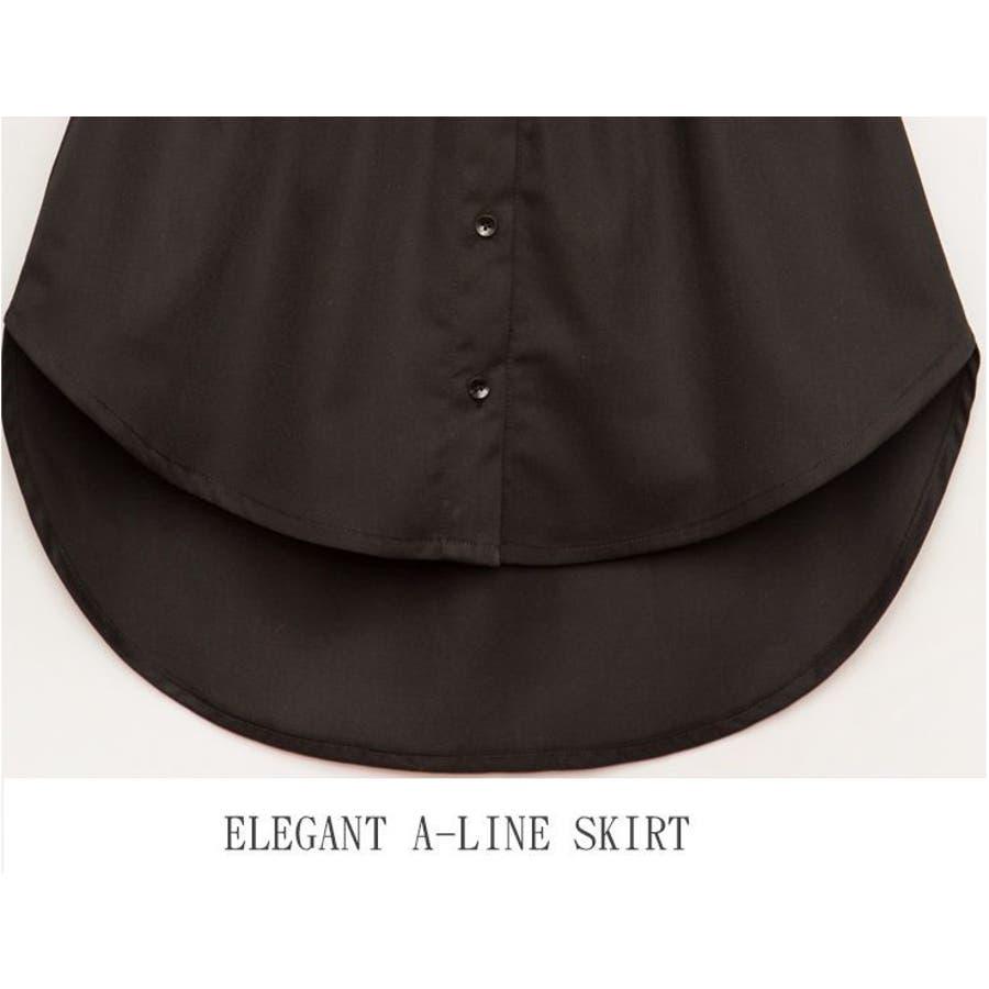 フェイクレイヤードシャツ ボトムス スカート ミニスカート ヘム レディース Aライン シンプル 無地 ホワイト ブラックコーデ着回し 重ね着風 レイヤード 5