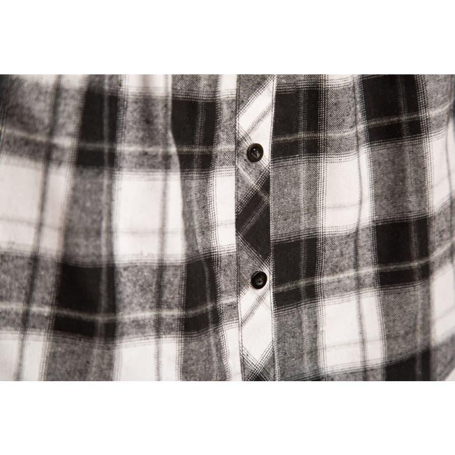 フェイクレイヤードシャツ レディース ボトムス 格子柄 チェック柄 重ね着風コーデ レッド ホワイト 秋 冬 コーデ 可愛いAラインウエストゴム 7