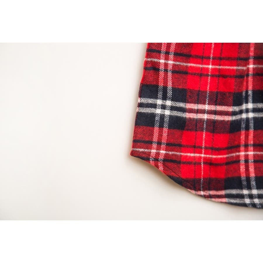 フェイクレイヤードシャツ レディース ボトムス 格子柄 チェック柄 重ね着風コーデ レッド ホワイト 秋 冬 コーデ 可愛いAラインウエストゴム 9