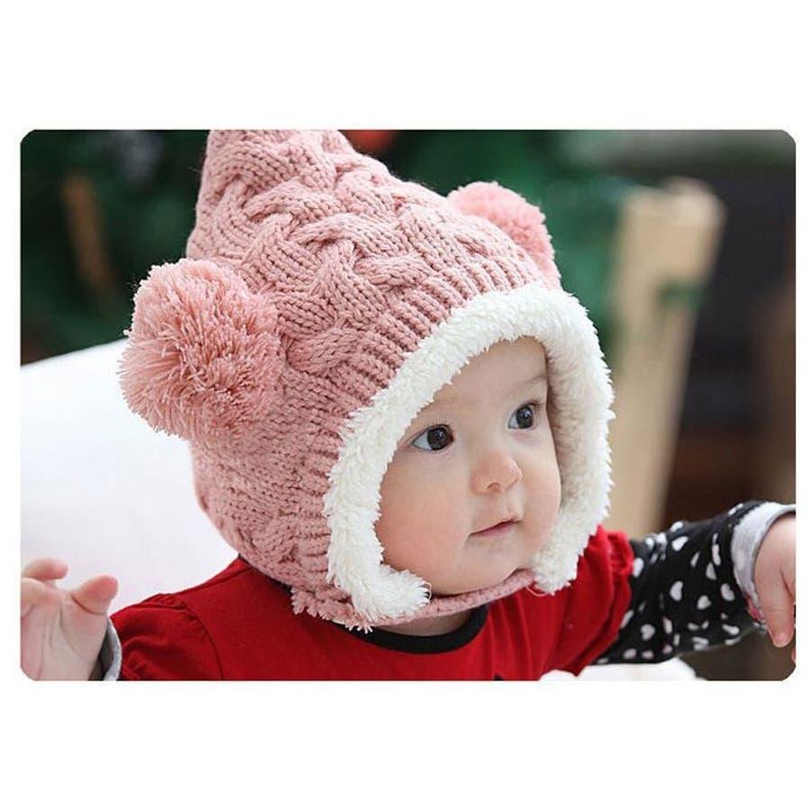 子供用 赤ちゃん用 ニット帽 ニットキャップ 耳付き ケーブル編み 裏ボア付き 顎ひも付き ベビー キッズ 女の子 男の子 冬帽子 6