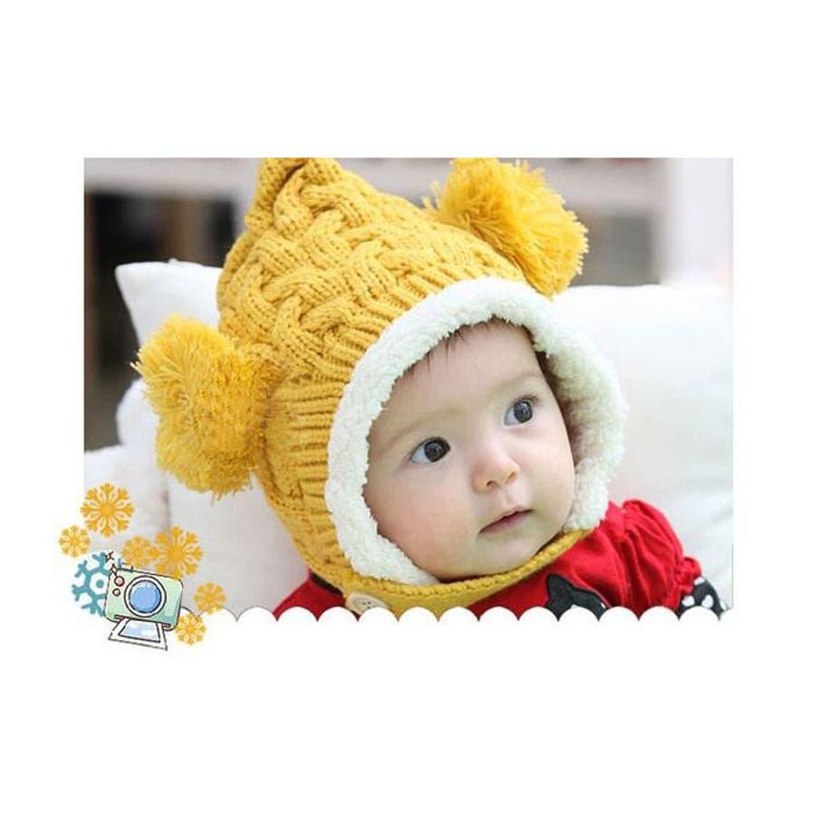 子供用 赤ちゃん用 ニット帽 ニットキャップ 耳付き ケーブル編み 裏ボア付き 顎ひも付き ベビー キッズ 女の子 男の子 冬帽子 7