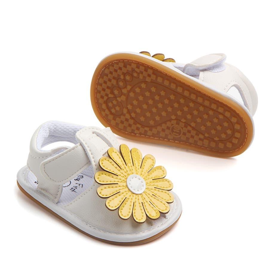 サンダル ベビー 赤ちゃん 靴 ベビーシューズ フラワー ゴールドカラー かわいい おしゃれ 女の子 マジックテープ 滑り止め 10