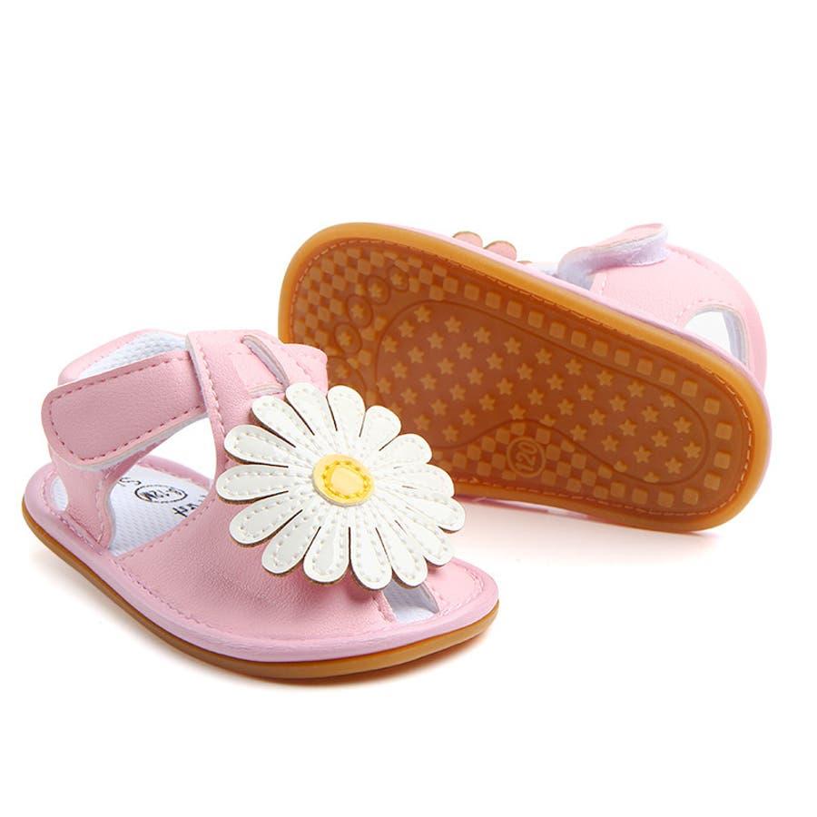 サンダル ベビー 赤ちゃん 靴 ベビーシューズ フラワー ゴールドカラー かわいい おしゃれ 女の子 マジックテープ 滑り止め 3