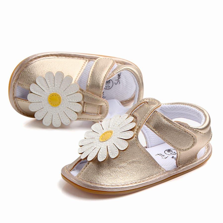 サンダル ベビー 赤ちゃん 靴 ベビーシューズ フラワー ゴールドカラー かわいい おしゃれ 女の子 マジックテープ 滑り止め 5