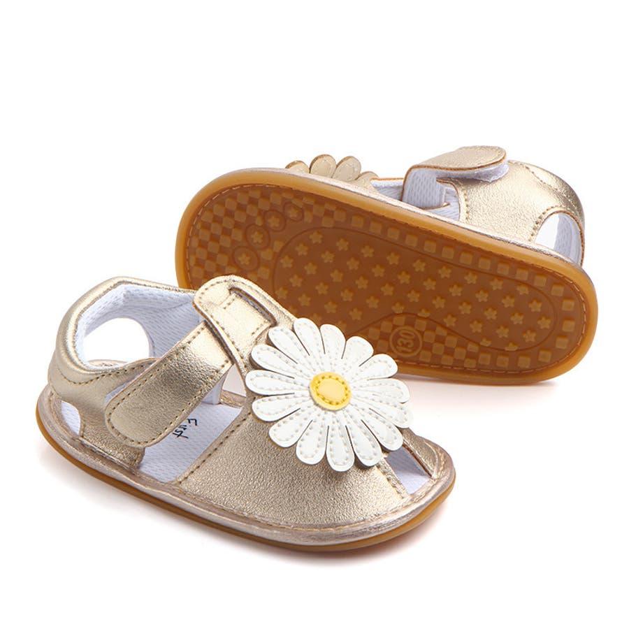 サンダル ベビー 赤ちゃん 靴 ベビーシューズ フラワー ゴールドカラー かわいい おしゃれ 女の子 マジックテープ 滑り止め 6