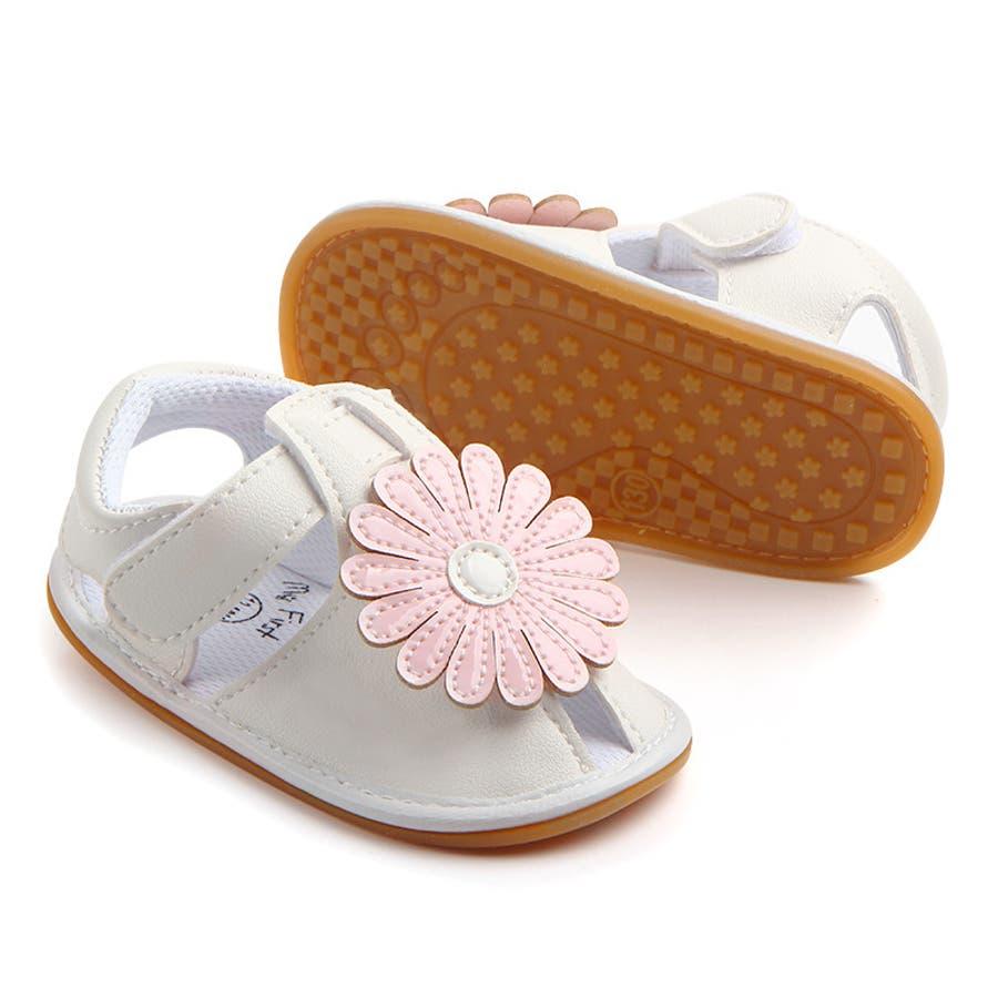 サンダル ベビー 赤ちゃん 靴 ベビーシューズ フラワー ゴールドカラー かわいい おしゃれ 女の子 マジックテープ 滑り止め 8