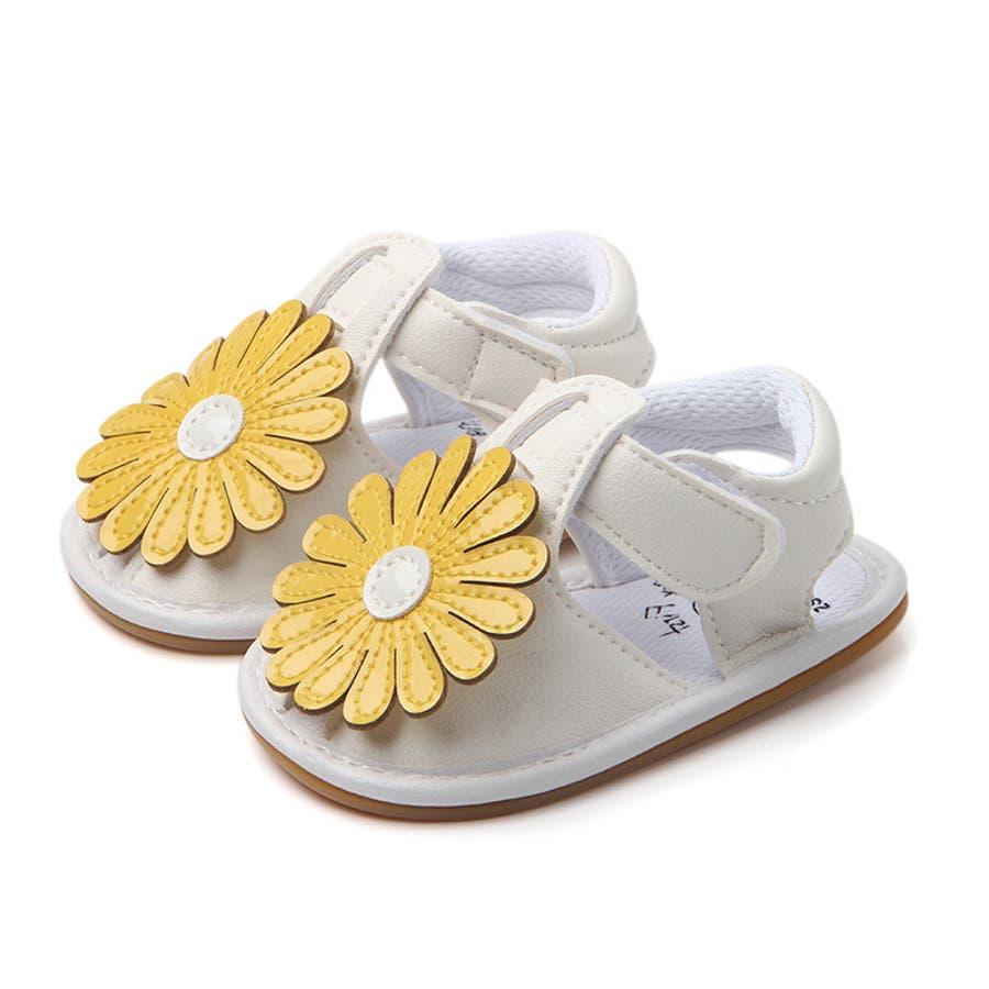 サンダル ベビー 赤ちゃん 靴 ベビーシューズ フラワー ゴールドカラー かわいい おしゃれ 女の子 マジックテープ 滑り止め 9
