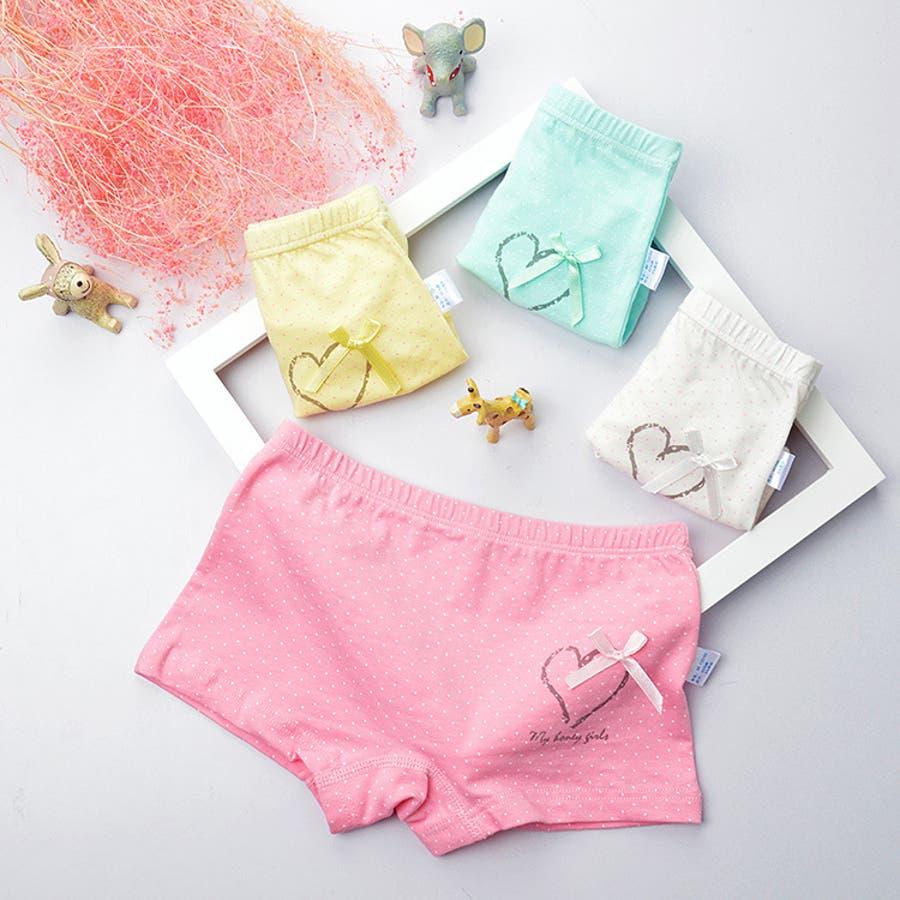 c28a2bc8be1e0 4枚セット 子供用ショーツ パンツ 水玉 ハート リボン かわいい 女の子 女児 幼児 子供 子ども