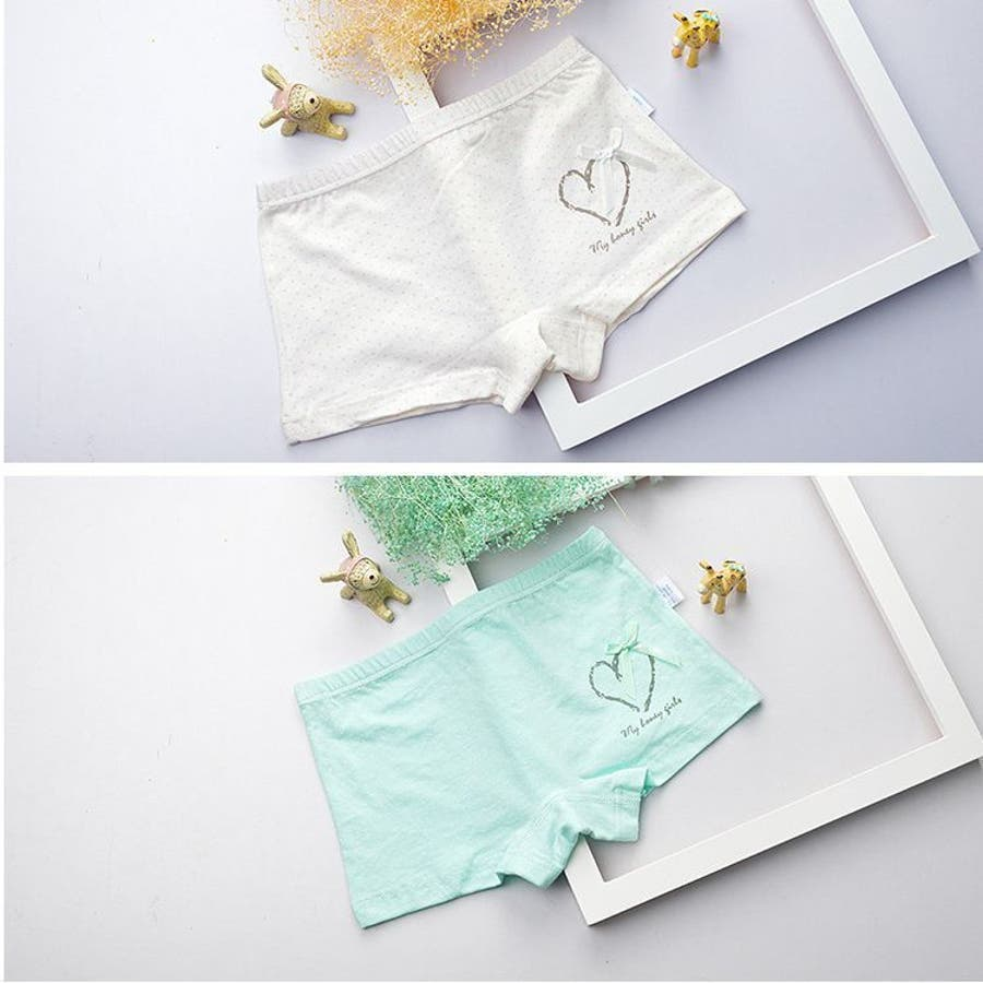 ba8186392f964 4枚セット 子供用ショーツ パンツ 水玉 ハート リボン かわいい 女の子 ...