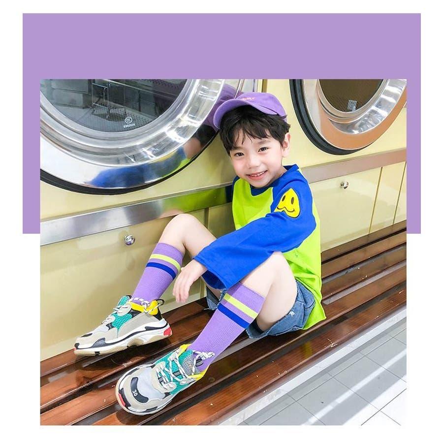 靴下 ソックス ハイソックス 子供用 キッズ 男の子 女の子 ボーダー ライン 膝下丈 カジュアル カラバリ豊富 アウトドア スポーツかわいい かっこいい 3