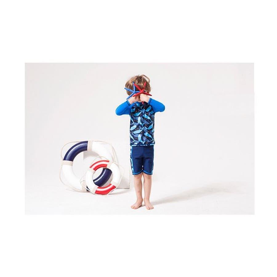 上下2点セット ラッシュガード 長袖 ハーフパンツ 水着 男の子用 子供用 セットアップ クルーネック プルオーバーラグラン袖スイムウェア 日焼け対策 紫外線対策 UV対策 スイムウエア 夏 ビーチ プール 海水浴 おしゃれ イルカ クジラ 男児 キ 4