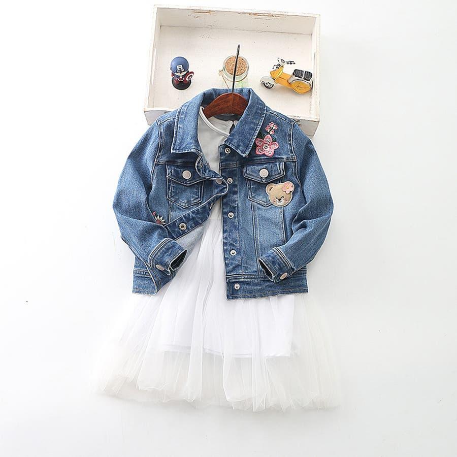 ワンピース キッズ ロングTシャツ 長袖 メッシュスカート チュールスカート シフォン かわいい お出かけ おしゃれ 女の子 2
