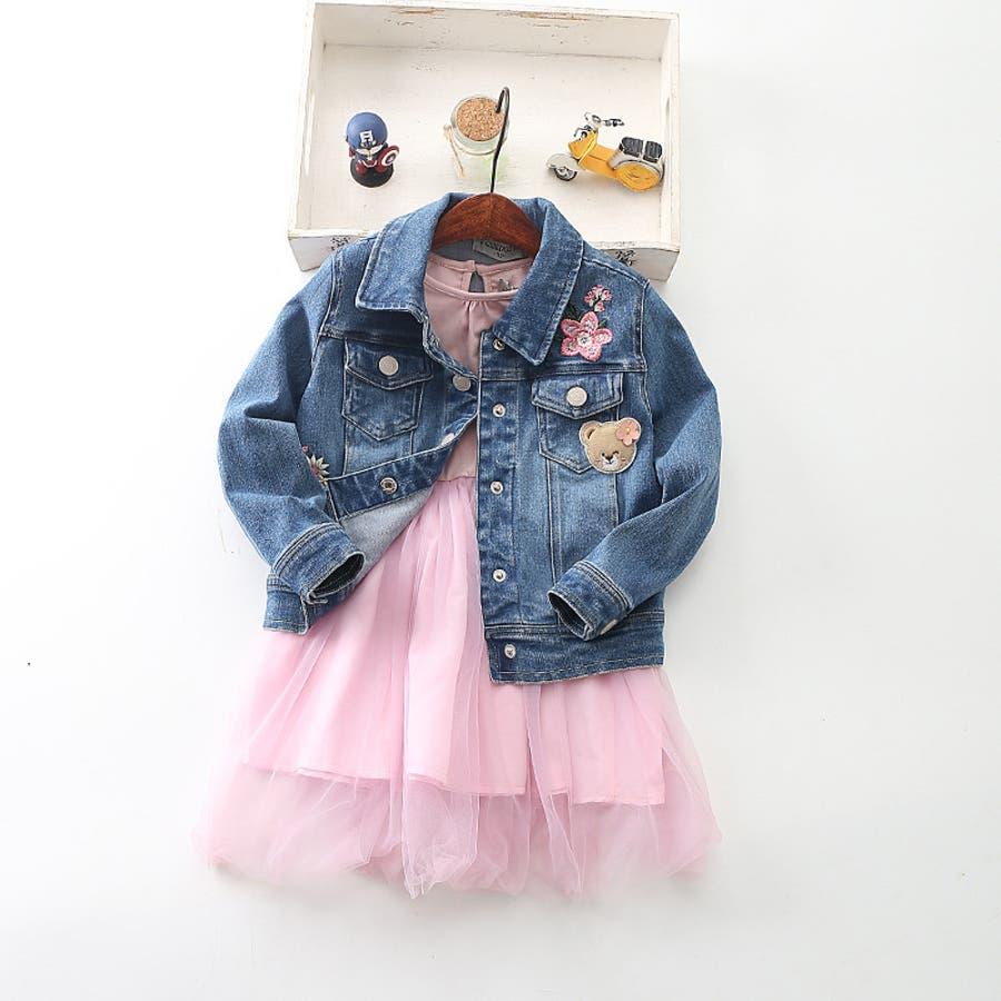 ワンピース キッズ ロングTシャツ 長袖 メッシュスカート チュールスカート シフォン かわいい お出かけ おしゃれ 女の子 3