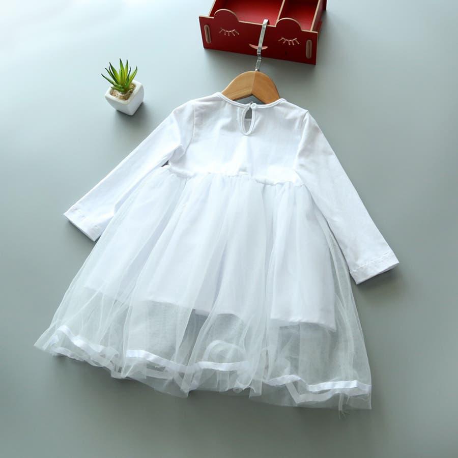 ワンピース キッズ ロングTシャツ 長袖 メッシュスカート チュールスカート シフォン かわいい お出かけ おしゃれ 女の子 5