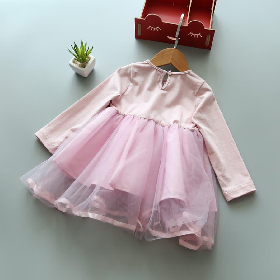 ワンピース キッズ ロングTシャツ 長袖 メッシュスカート チュールスカート シフォン かわいい お出かけ おしゃれ 女の子 7