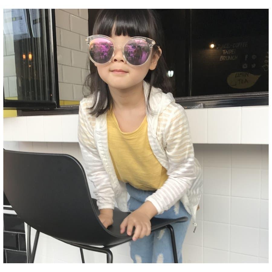 子供用 パーカー ジップアップパーカー フード付き 長袖 ボーダー 刺繍入り 男の子 女の子 キッズ ジュニア 100 110 120130 140 紫外線対策 冷房対策 2