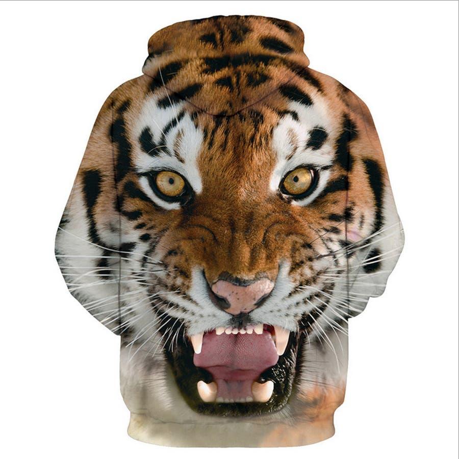 パーカ パーカー トレーナー 男女兼用 トップス 長袖 フード付き プルオーバー 虎 トラ タイガー プリント 個性的 カジュアルユニーク インパクト 迫力 派手 3