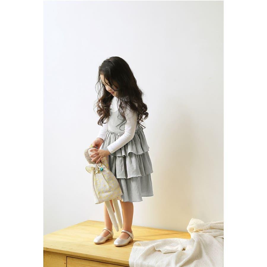 607d2e8e3dfeb ジャンパースカート ベビー キッズ 女の子 フリル 3段フリル ワンピース ...