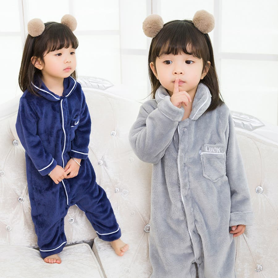 683ef0c90bbd3 子供用ルームウエア つなぎパジャマ フリース 着ぐるみ 長袖 長ズボン 襟 ...